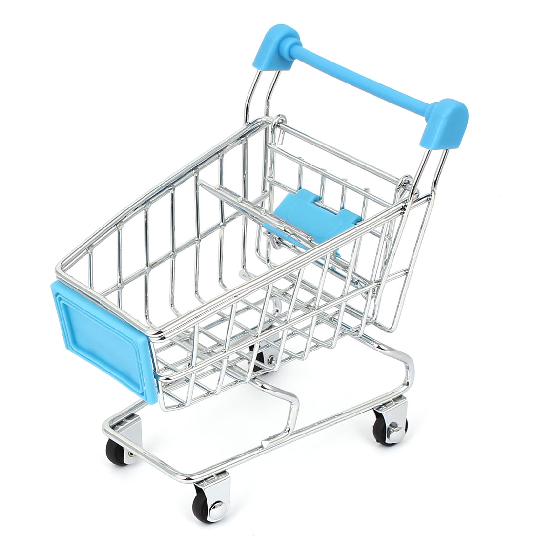 Mini Supermarket Shopping Hand Trolly Cart Model Toy Storage Container Light Blue