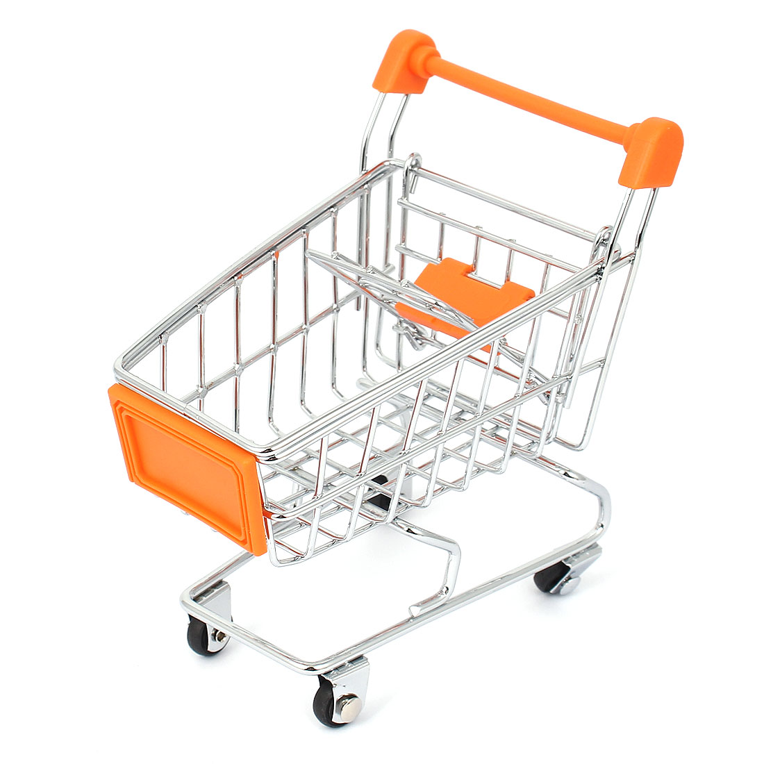 Mini Supermarket Shopping Hand Trolly Cart Model Toy Storage Container Orange
