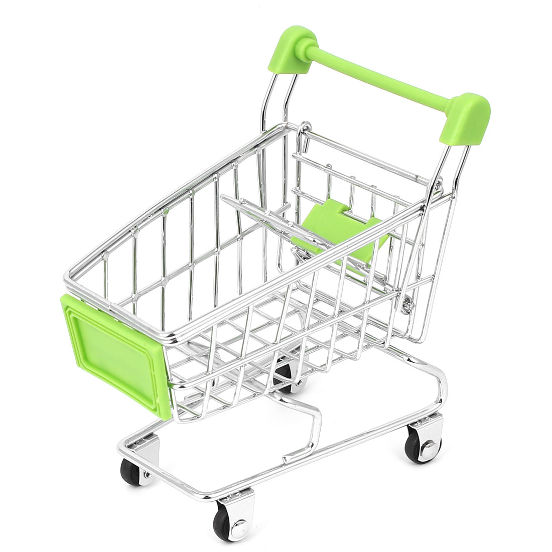 Mini Supermarket Shopping Hand Trolly Cart Model Toy Storage Container Green