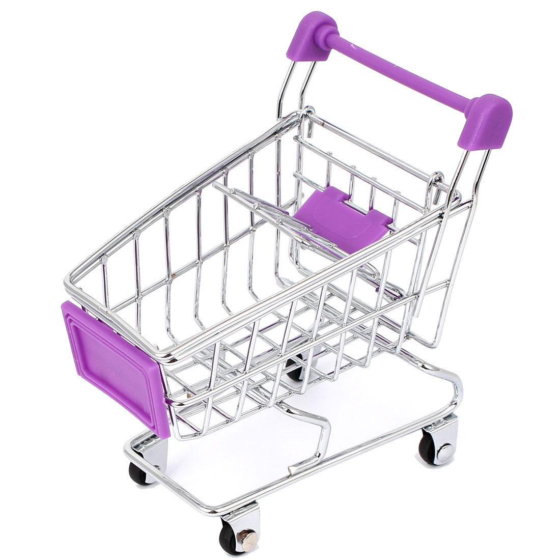 Mini Supermarket Shopping Hand Trolly Cart Model Toy Storage Container Purple