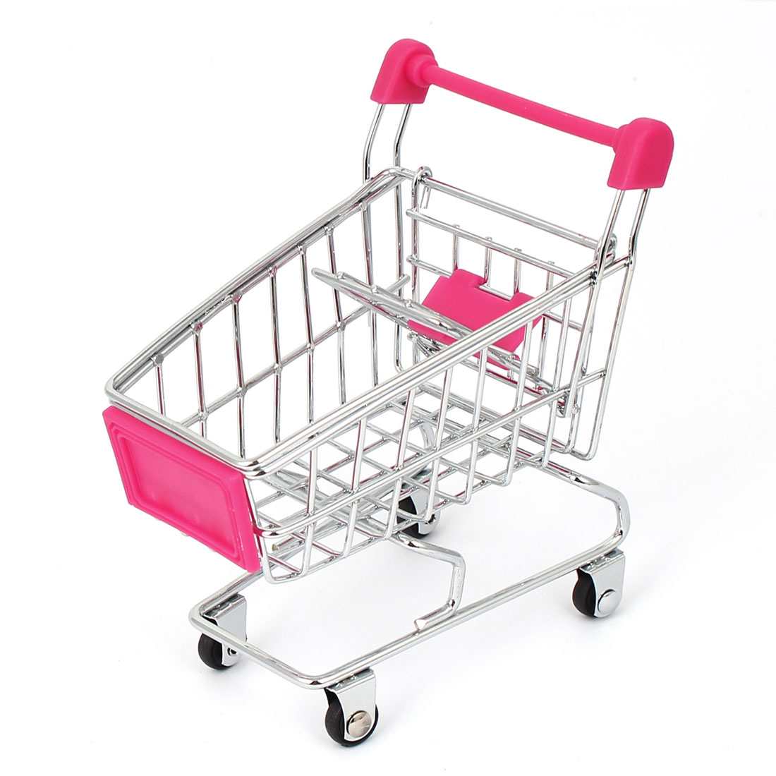 Child Supermarket Shopping Hand Trolly Cart Model Toy Storage Container Fuchsia