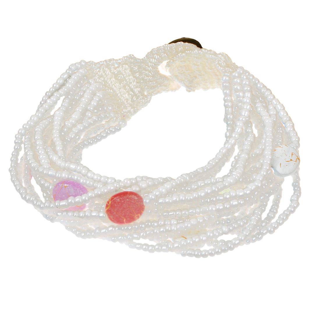 Women Button Closure Bead Chain Multilayer String Bangle Cuff Bracelet White