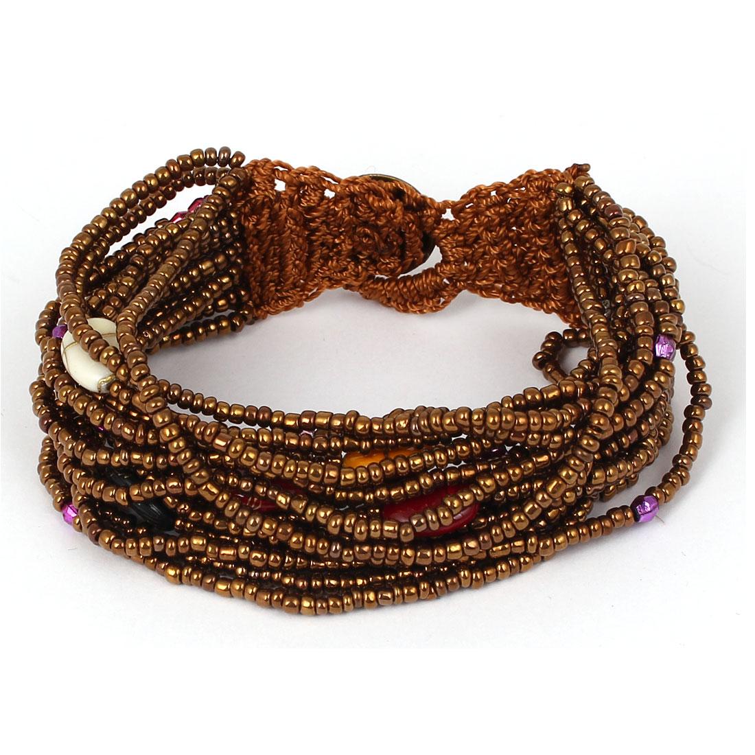 Women Button Closure Bead Chain Multilayer String Bangle Cuff Bracelet Brown