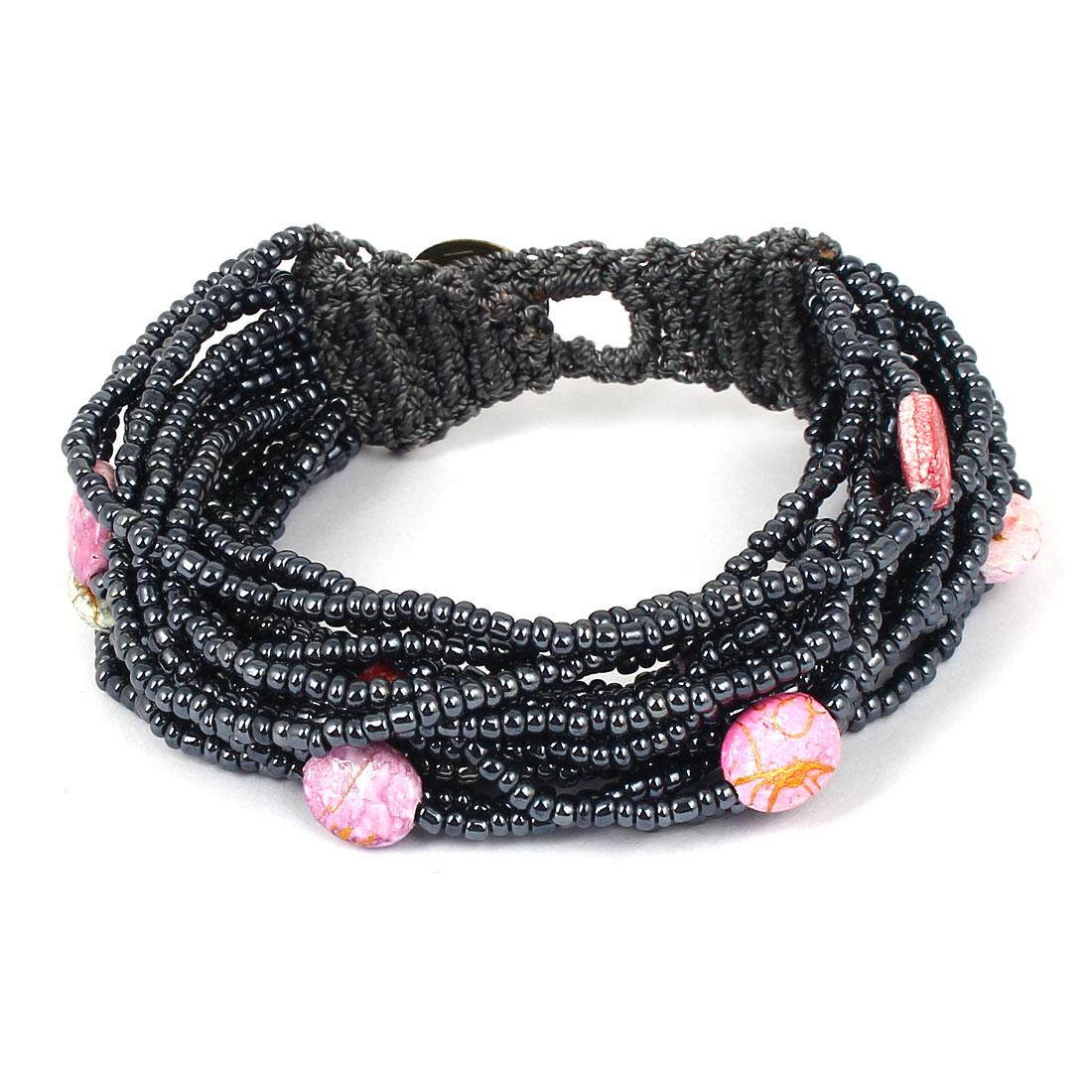 Women Button Closure Bead Chain Multilayer String Bangle Cuff Bracelet Dark Gray