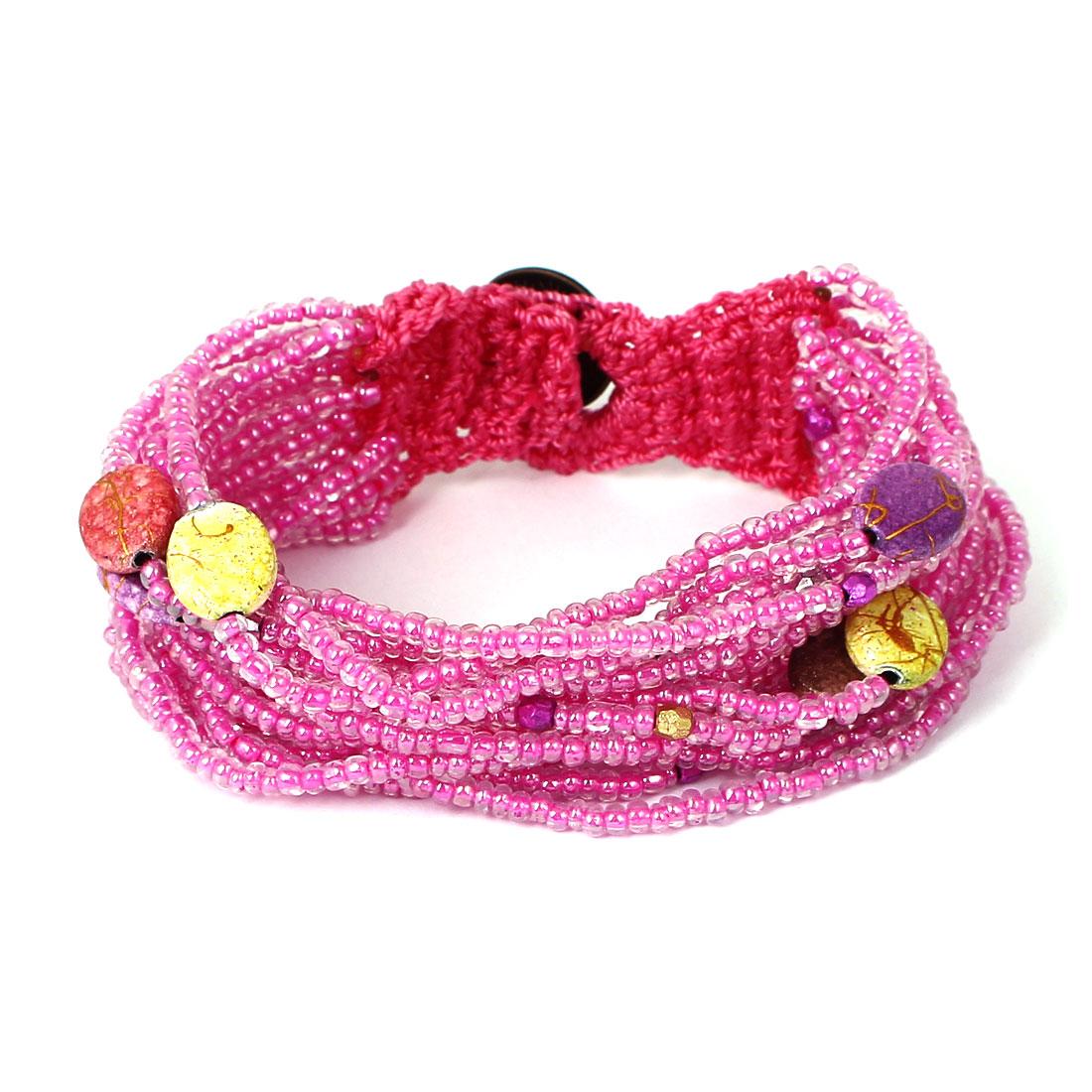 Women Button Closure Bead Chain Multilayer String Bangle Cuff Bracelet Fuchsia