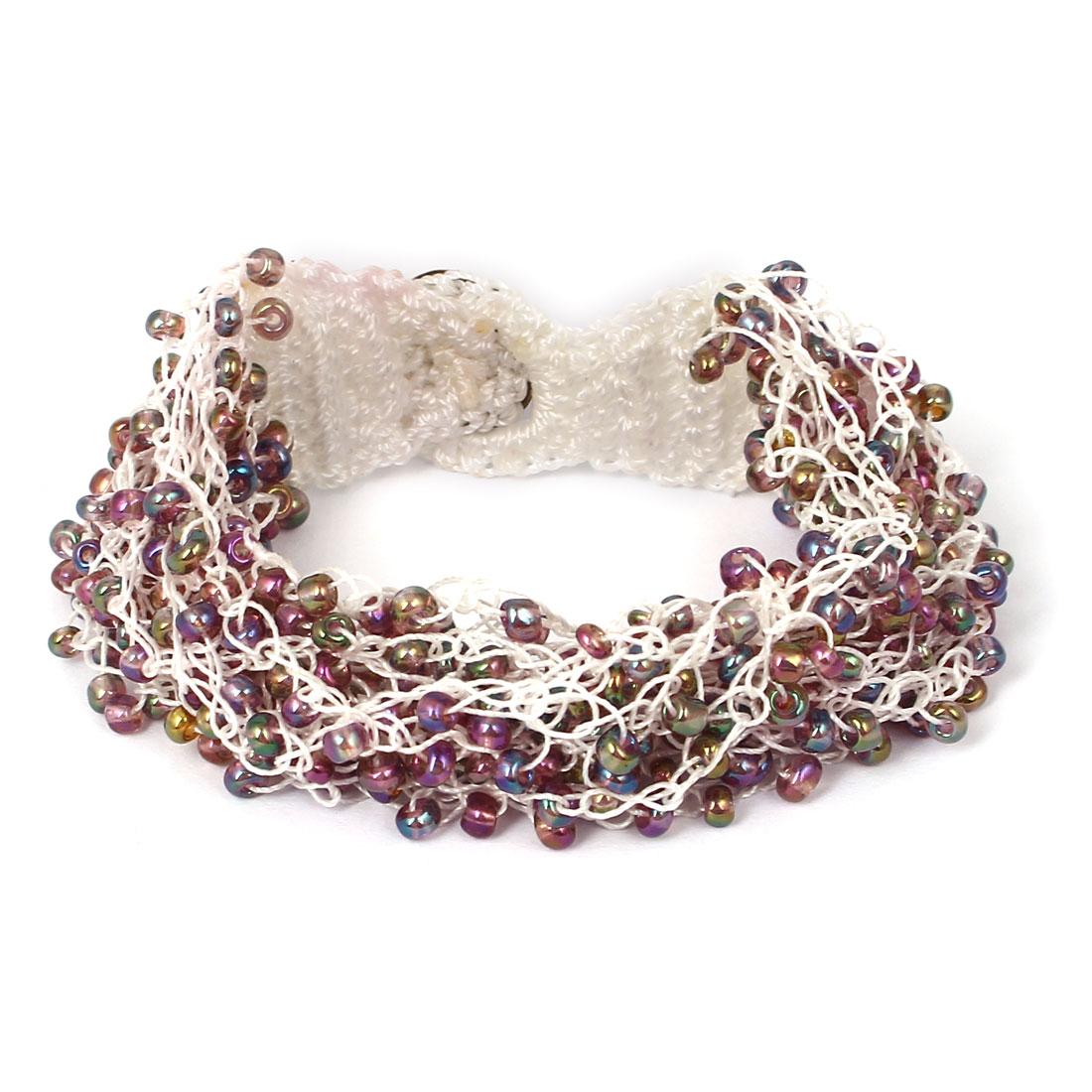 Women Button Closure Bead Detail Multilayer String Bangle Cuff Bracelet Purple