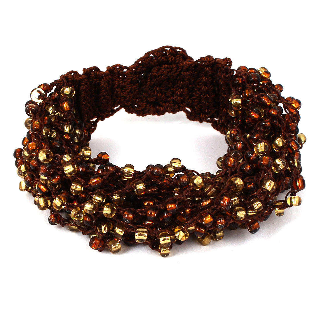 Women Button Closure Bead Detail Multilayer String Bangle Cuff Bracelet Brown