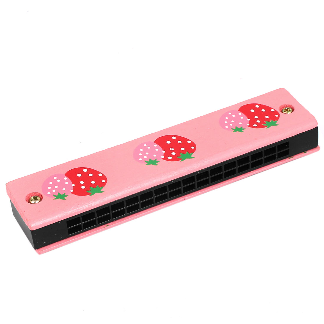 Wood Strawberry Pattern Double Rows 32 Holes Harmonica Mouth Organ Pink
