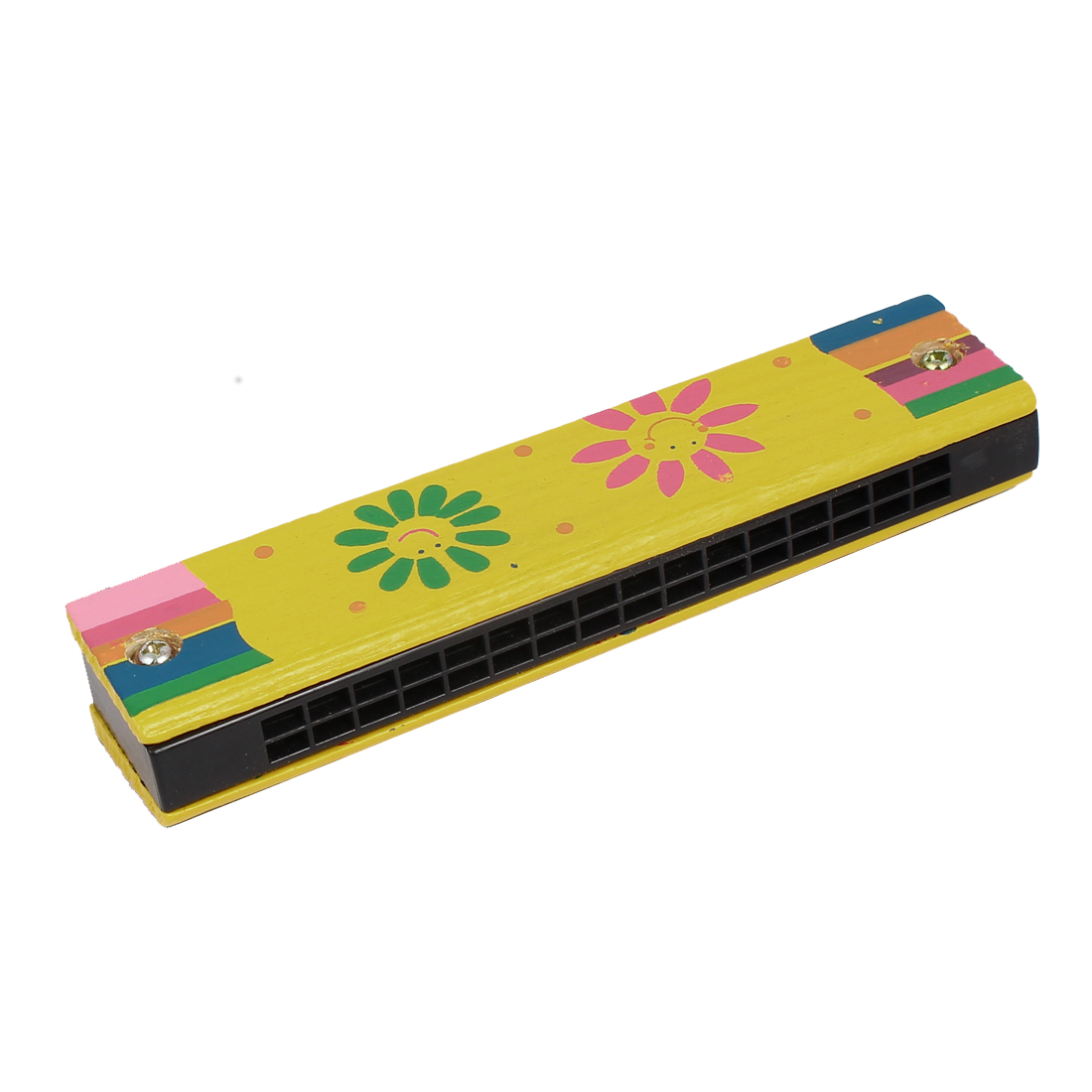 Wood Smile Face Flower Pattern Double Rows 32 Holes Harmonica Mouth Organ Yellow