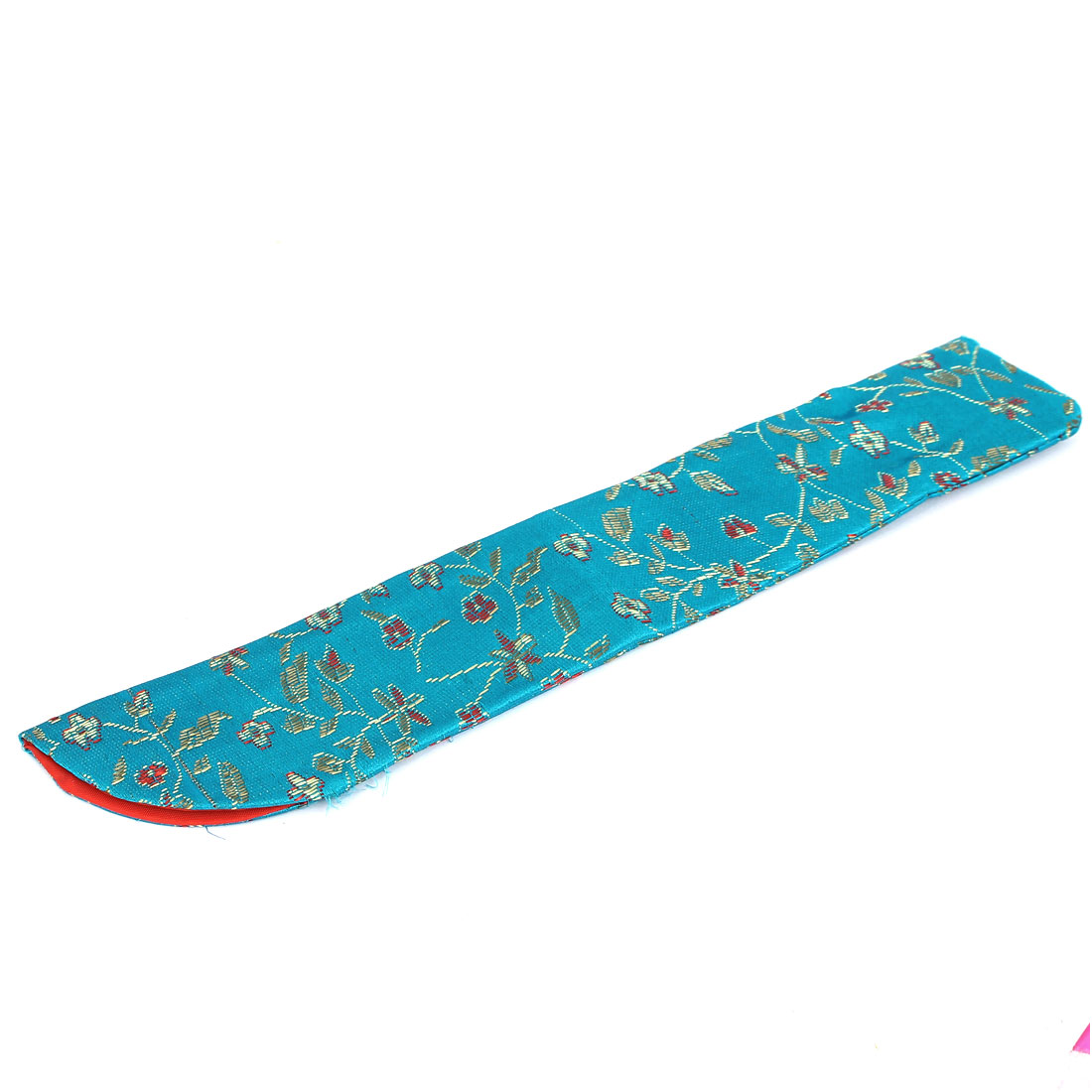 Flower Pattern Folding Hand Fan Party Gift Bag Pouch Holder Protector Teal Blue