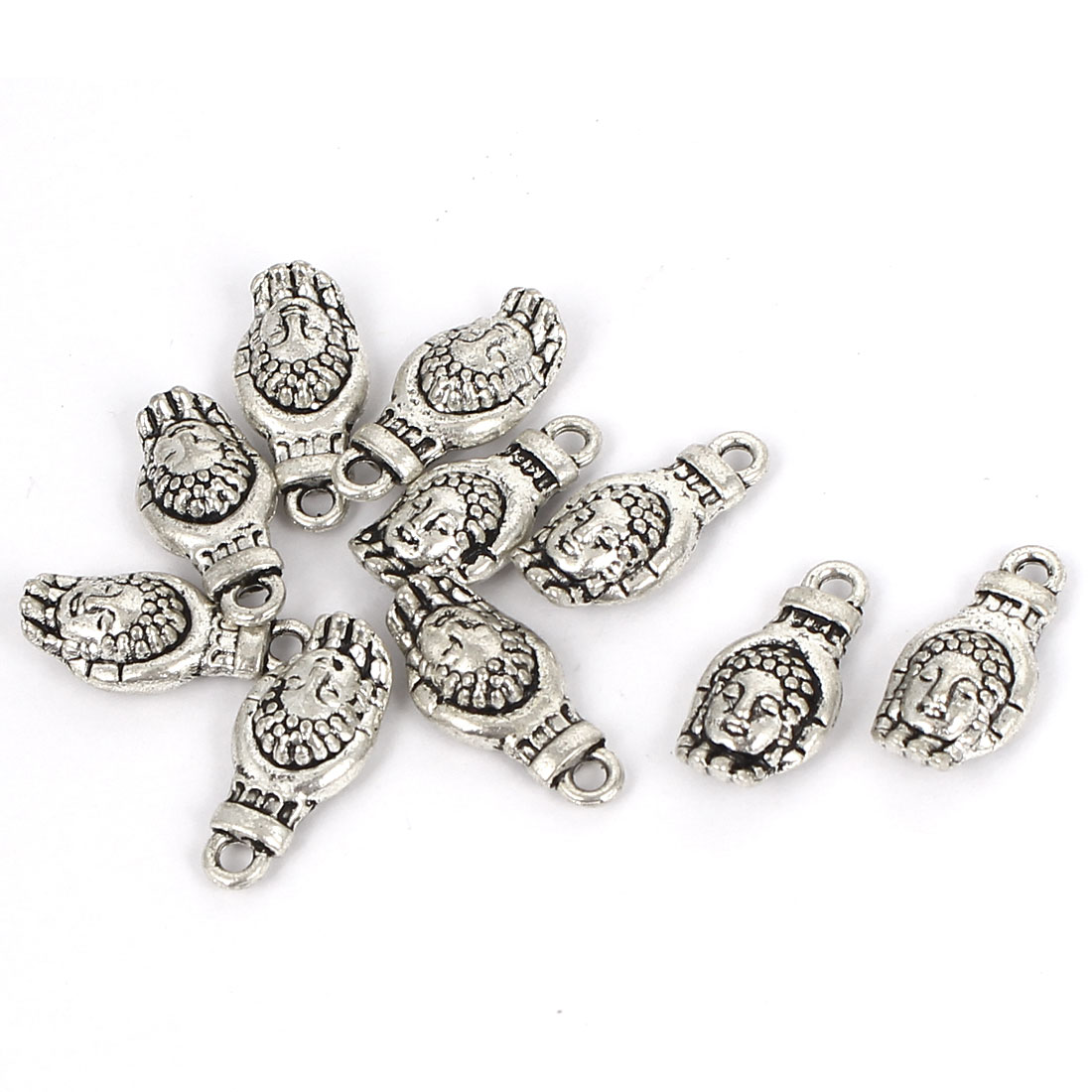DIY Craft Findings Jewelry Making Metal Buddha Hand Pendant Silver Tone 10Pcs