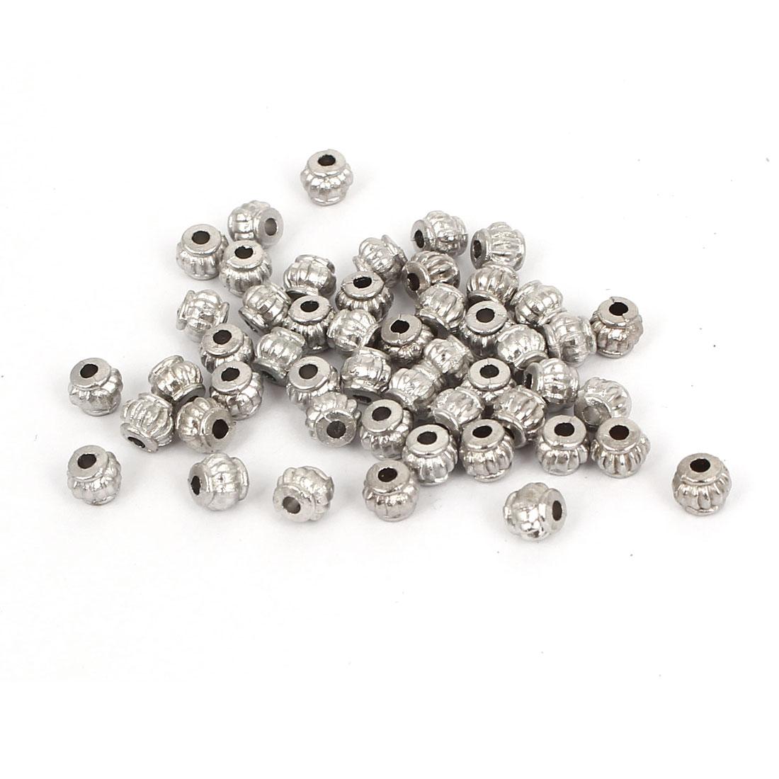 DIY Craft Jewelry Making Metal Lantern Shaped Spacer Bead Silver Tone 50Pcs