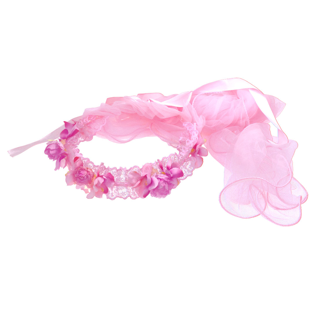 Flower Pattern Women Wedding Party Hair Band Crown Garland Wreath Veil Pink