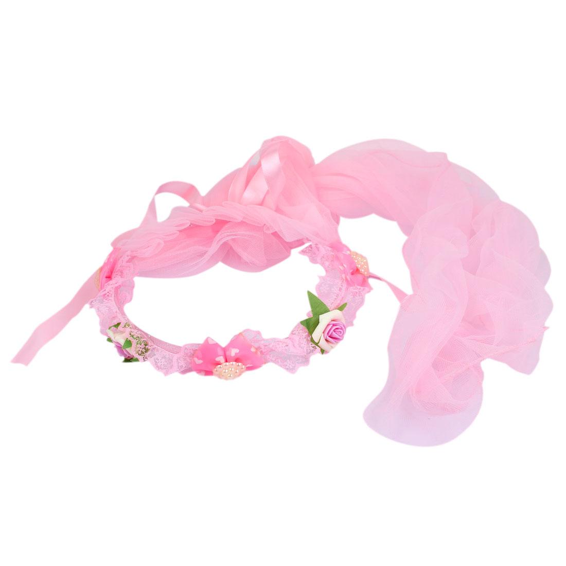 Flower Bowtie Decor Women Wedding Party Hair Band Crown Garland Wreath Veil Pink