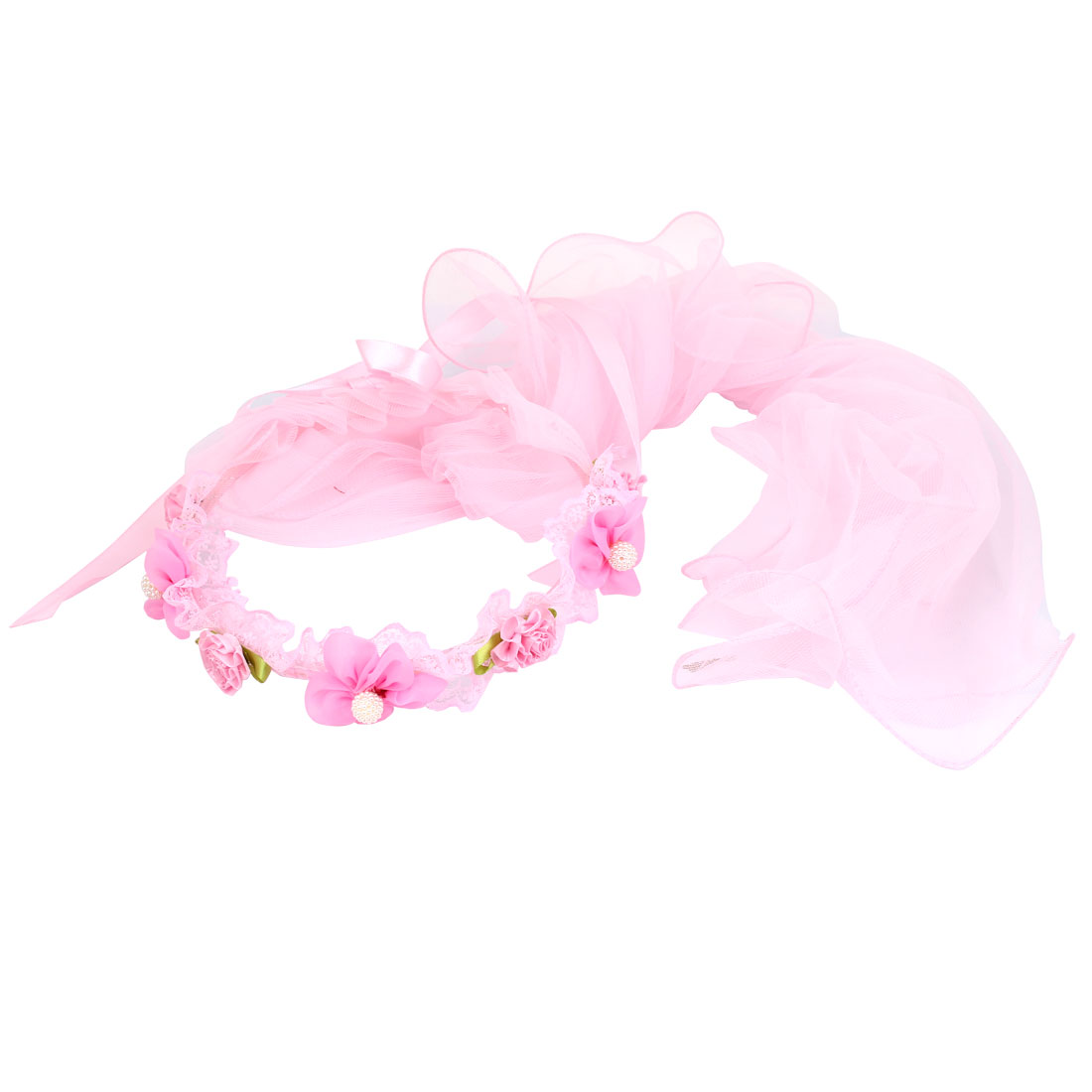 Flower Pattern Women Wedding Festival Hair Band Crown Garland Wreath Veil Pink