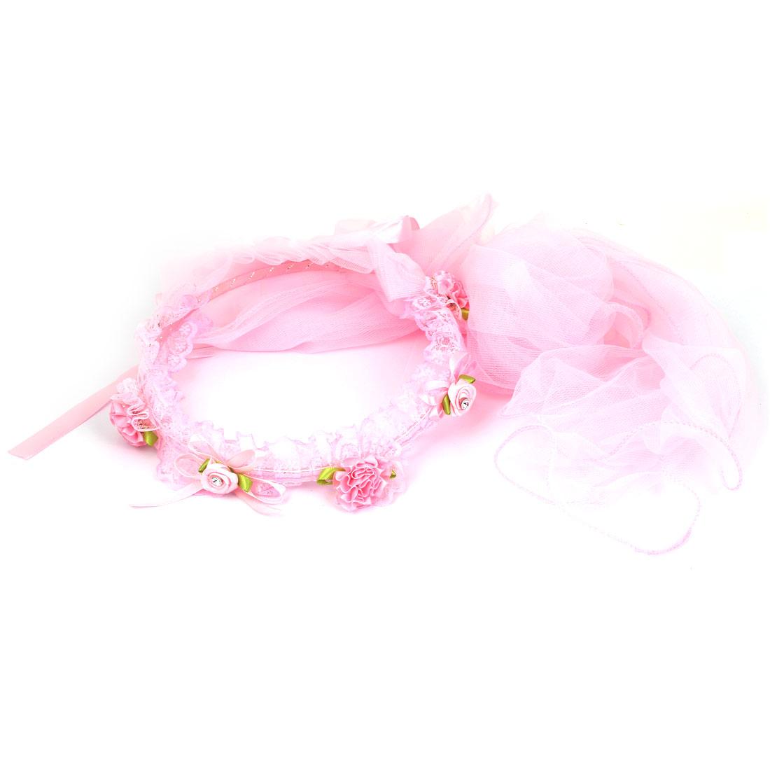 Flower Decor Women Wedding Festival Hair Band Crown Garland Wreath Veil Pink