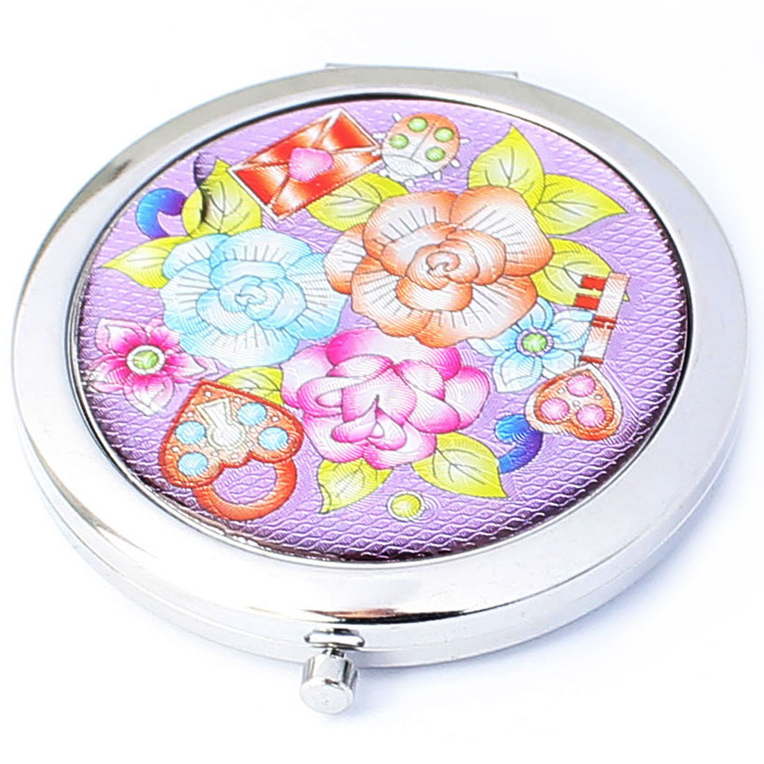 Cartoon Flower Pattern Round Double Sides Pocket Folding Cosmetic Makeup Mirror