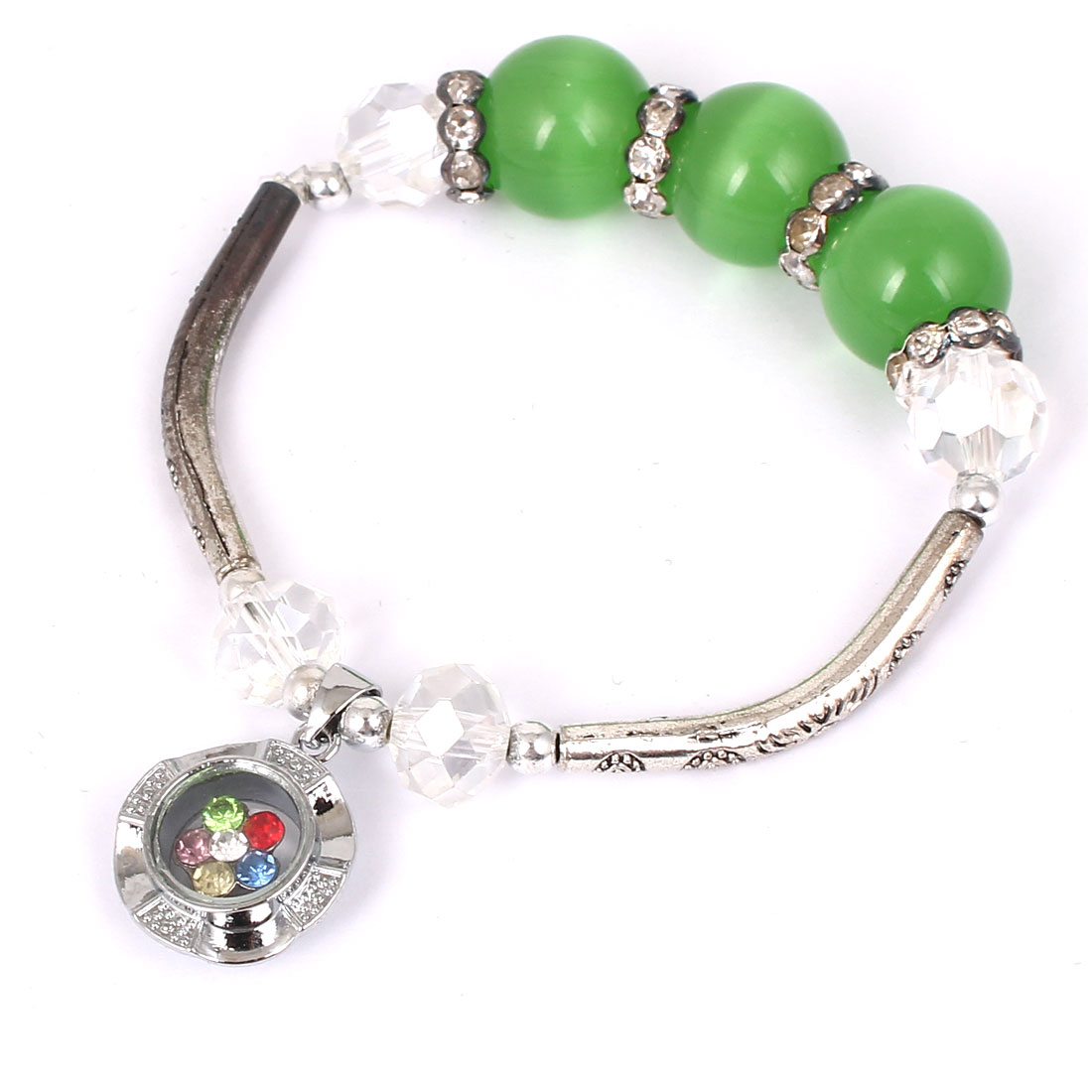 Women Lady Faux Crystal Decor Cat Eye Round Bead Stretchy Bangle Bracelet Green