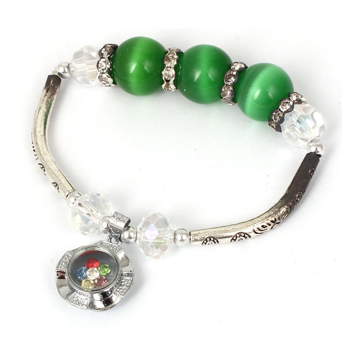 Women Faux Crystal Decor Cat Eye Round Bead Stretchy Bangle Bracelet Dark Green