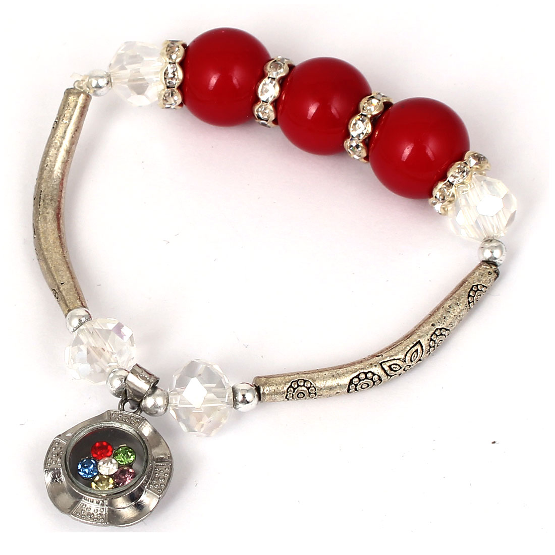 Women Lady Faux Crystal Decor Cat Eye Round Bead Stretchy Bangle Bracelet Red