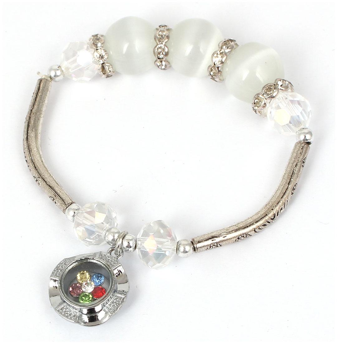 Women Lady Faux Crystal Decor Cat Eye Round Bead Stretchy Bangle Bracelet White