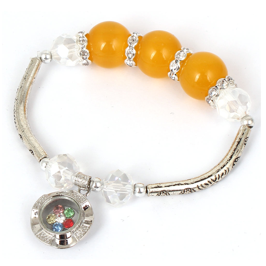 Women Faux Crystal Decor Cat Eye Round Bead Stretchy Bangle Bracelet Orange