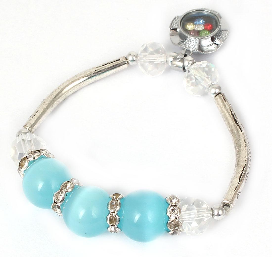 Women Faux Crystal Decor Cat Eye Round Bead Stretchy Bangle Bracelet Sky Blue