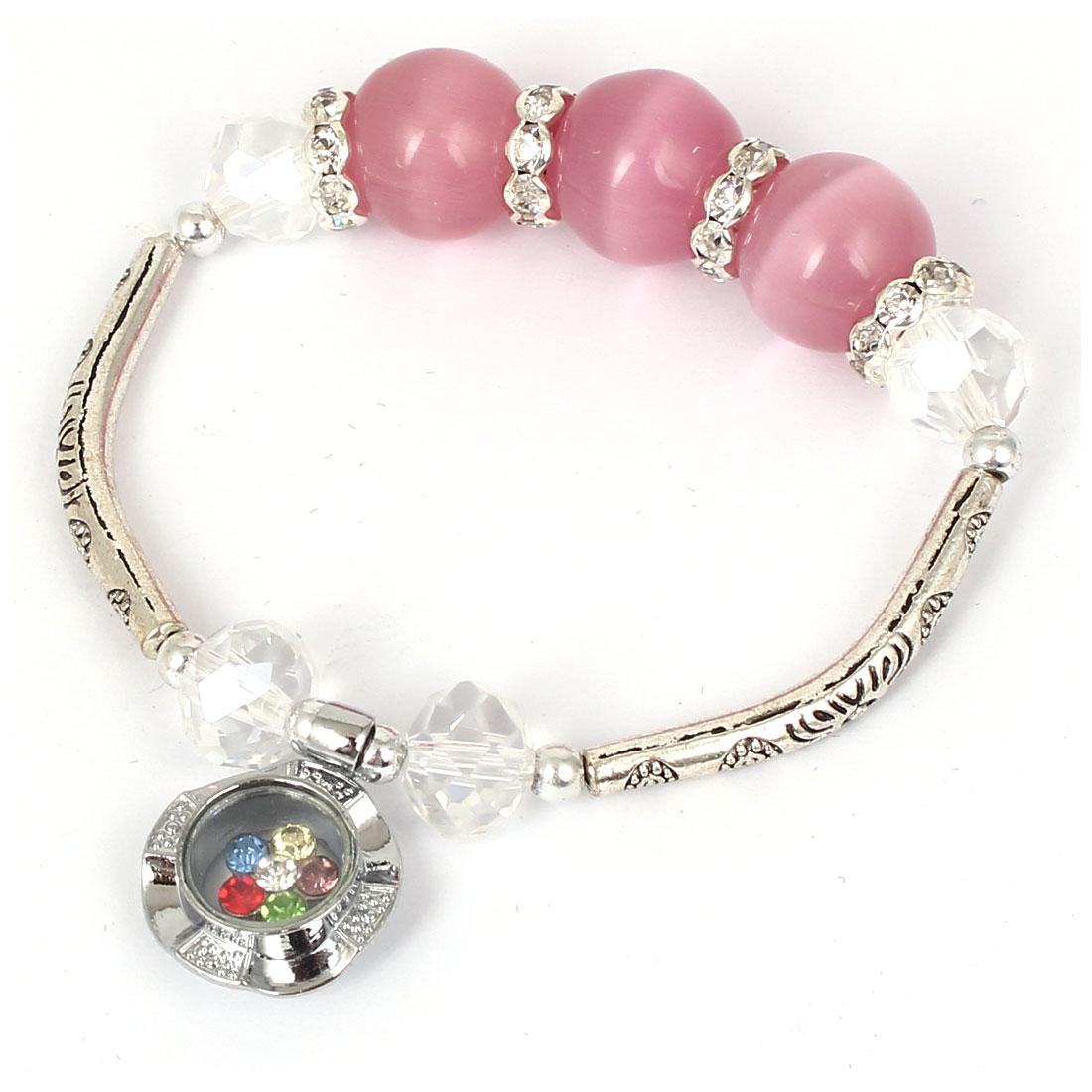 Women Lady Faux Crystal Decor Cat Eye Round Bead Stretchy Bangle Bracelet Pink