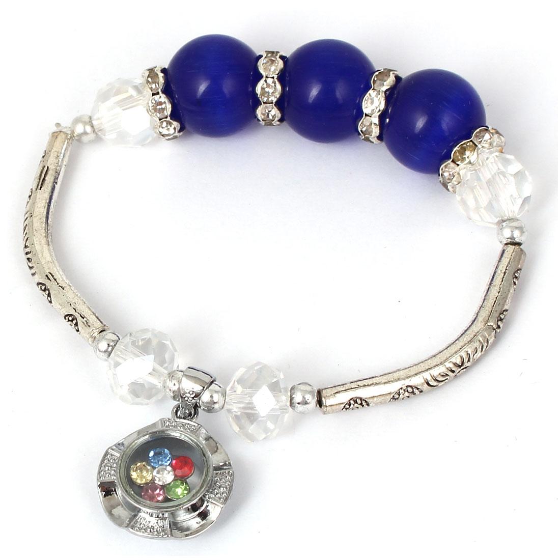 Women Faux Crystal Decor Cat Eye Round Bead Stretchy Bangle Bracelet Dark Blue