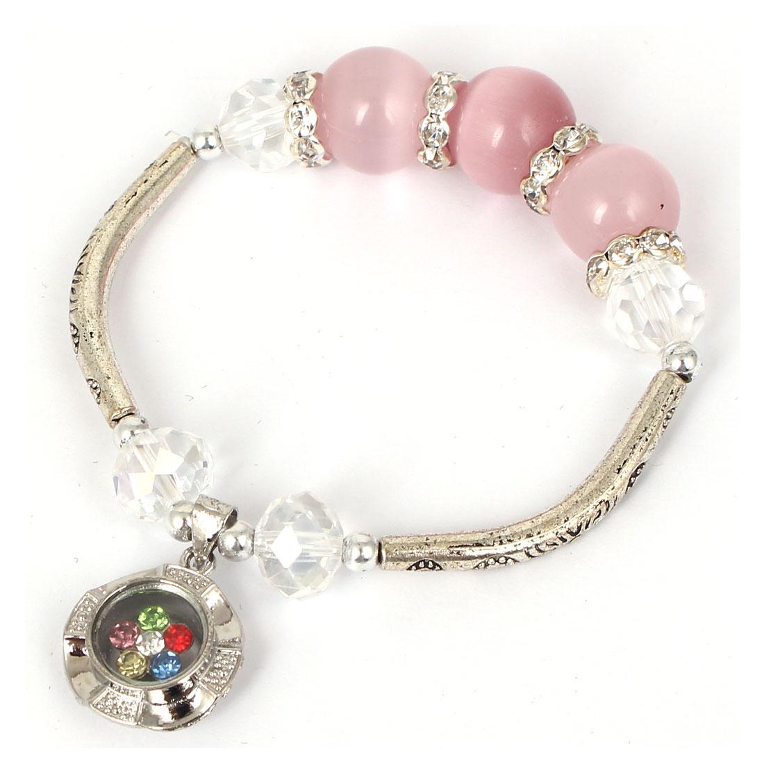 Women Faux Crystal Decor Cat Eye Round Bead Stretchy Bangle Bracelet Light Pink