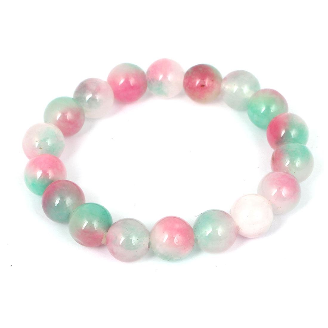 Men Women Faux Jade Elastic 10mm Round Beaded Chain Bangle Bracelet Pink Green