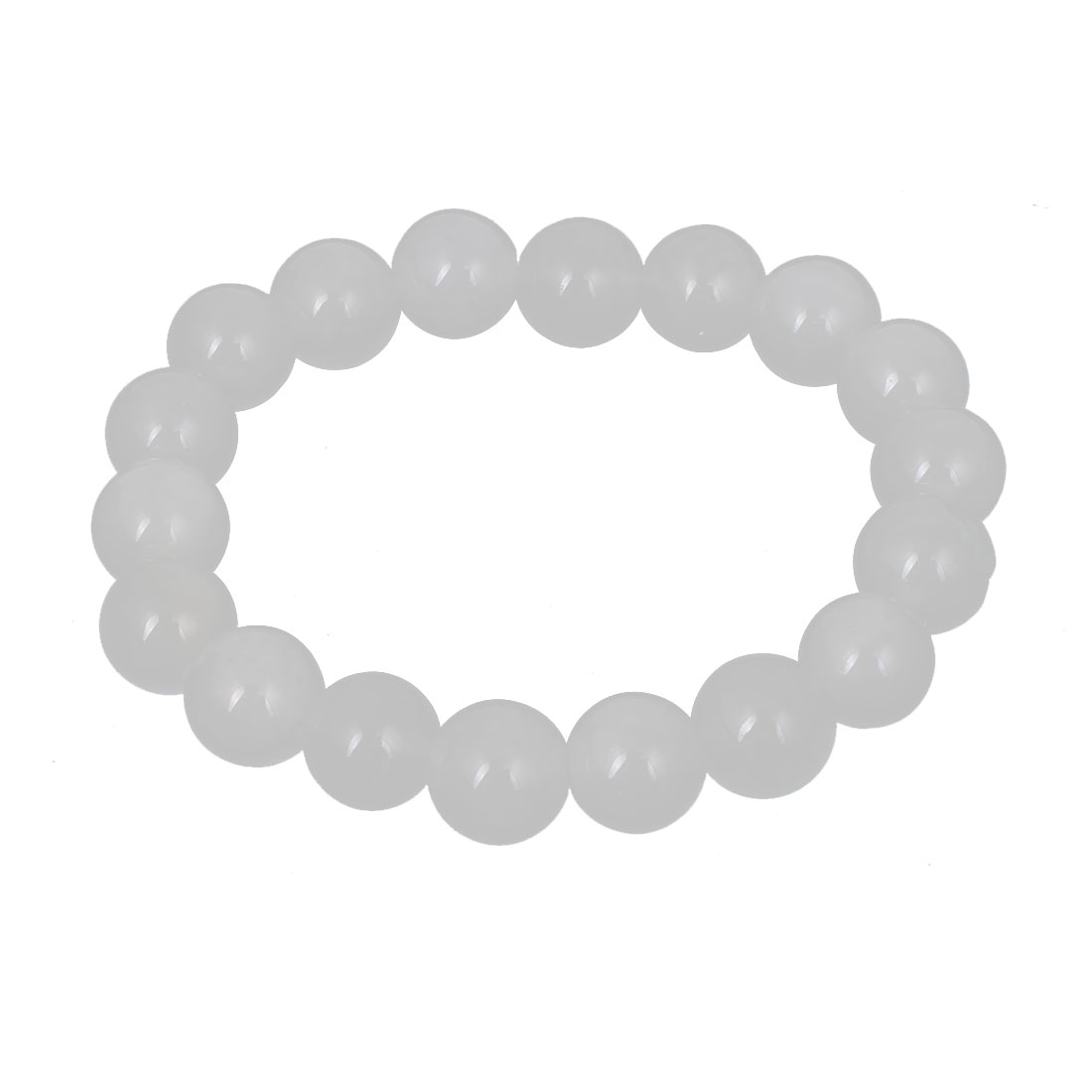 Men Women Faux Jade Elastic 10mm Round Beaded Ball Chain Bangle Bracelet White