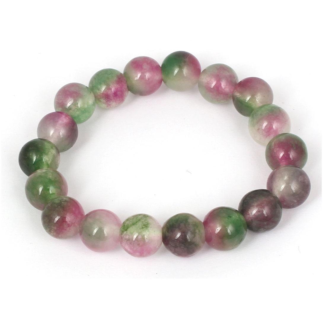 Men Women Faux Jade Elastic 10mm Beaded Ball Chain Bangle Bracelet Green Purple
