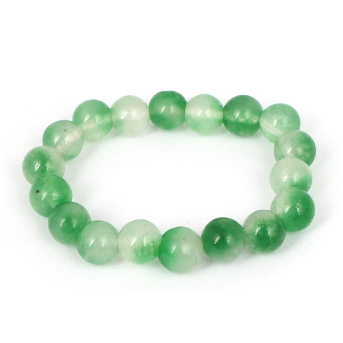Men Women Faux Jade Elastic 10mm Round Beaded Ball Chain Bangle Bracelet Green