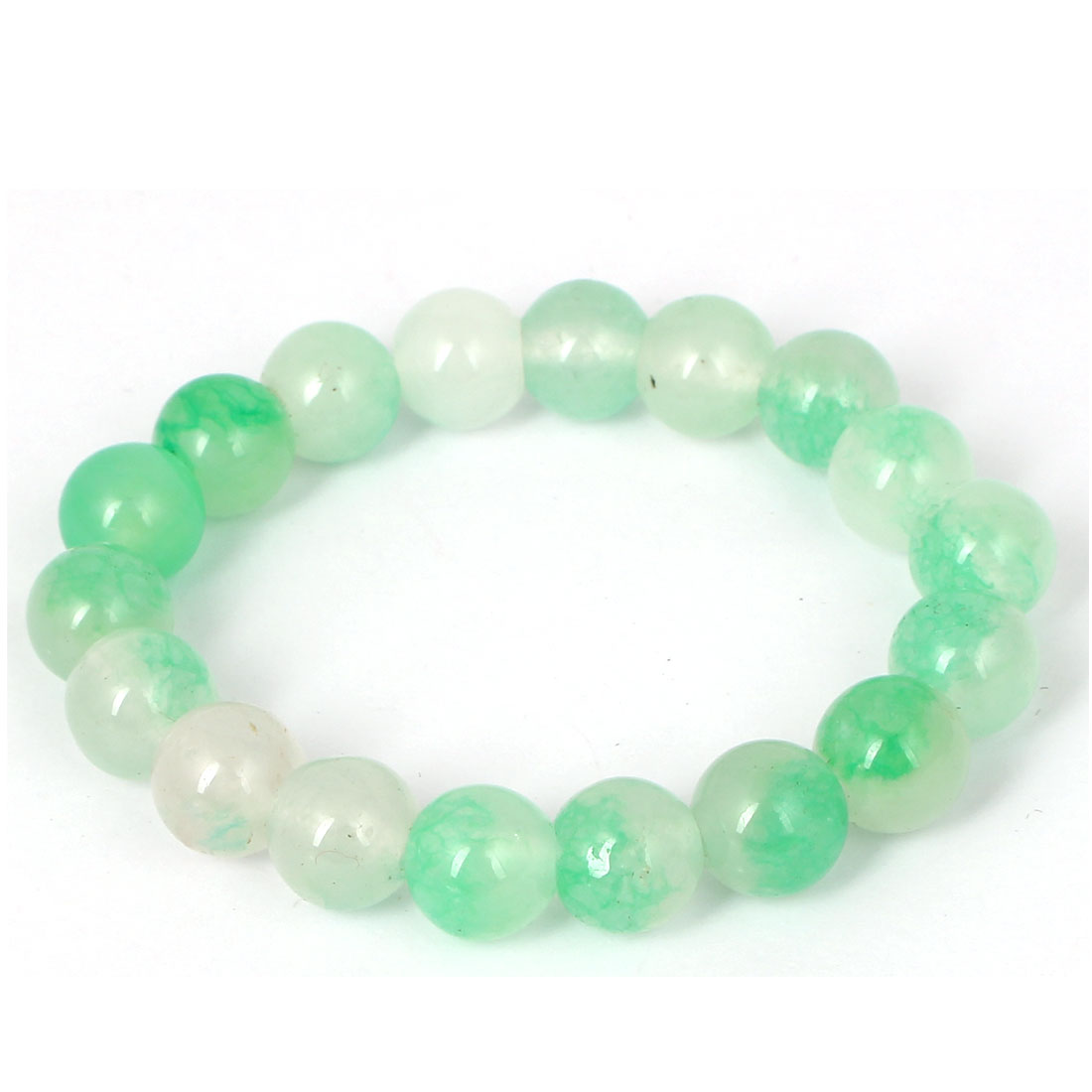 Men Women Faux Jade Elastic 10mm Round Beaded Chain Bangle Bracelet Light Green