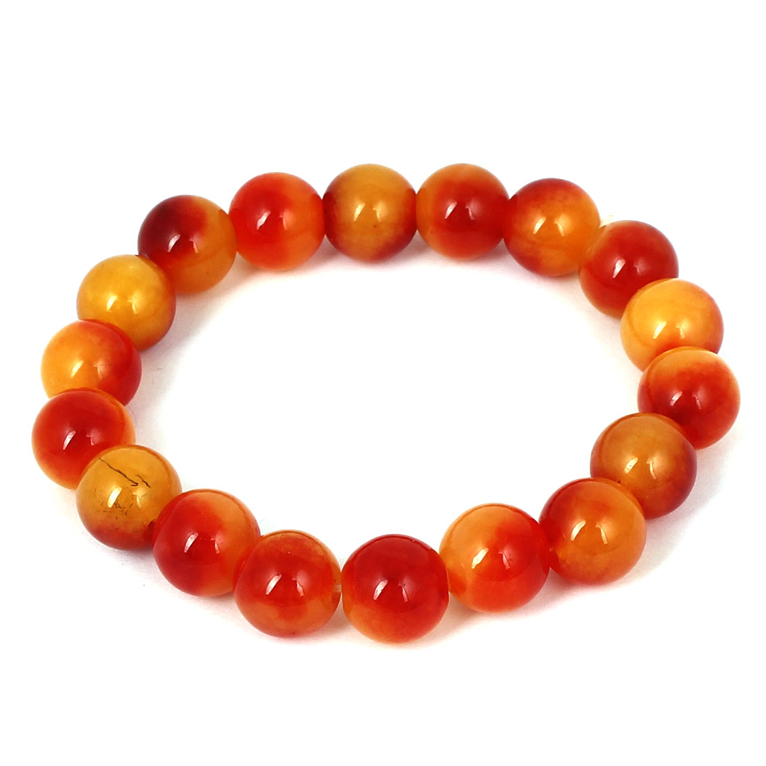Men Women Faux Jade Elastic 10mm Round Beaded Chain Bangle Bracelet Red Orange