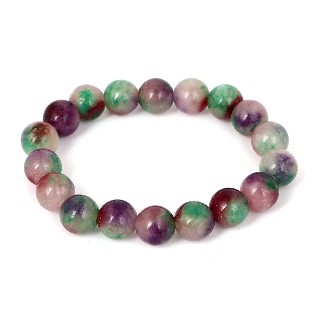 Men Women Faux Jade Elastic 10mm Round Beaded Chain Bangle Bracelet Green Purple