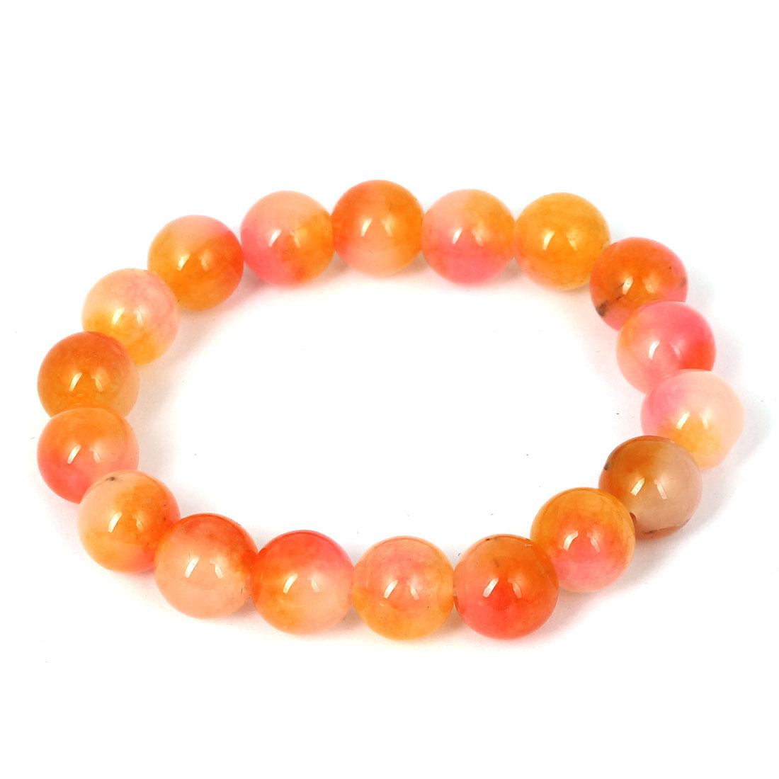 Men Women Faux Jade Elastic 10mm Round Beaded Chain Bangle Bracelet Pink Orange