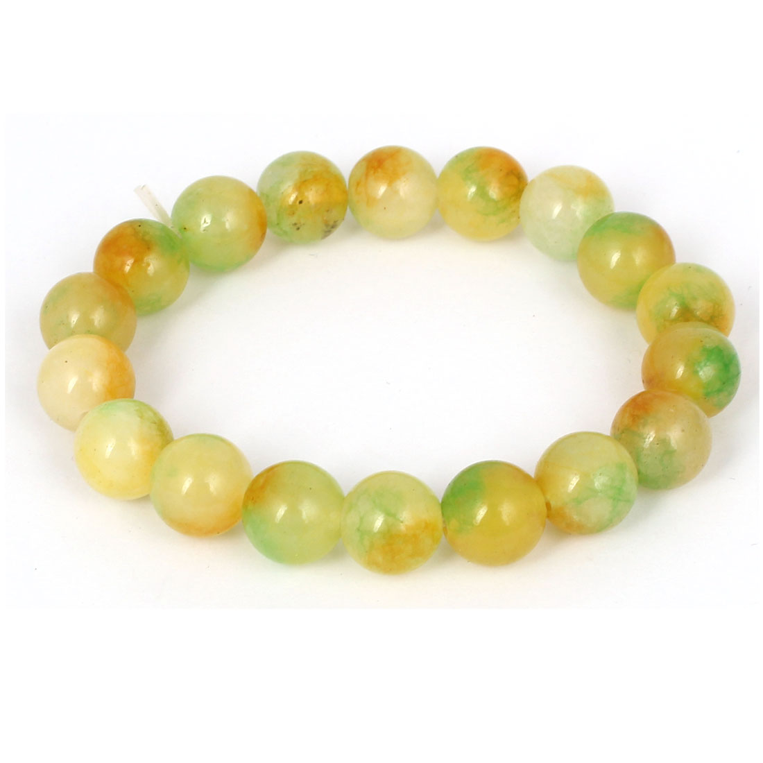 Men Women Faux Jade Elastic 10mm Round Beaded Chain Bangle Bracelet Yellow Green
