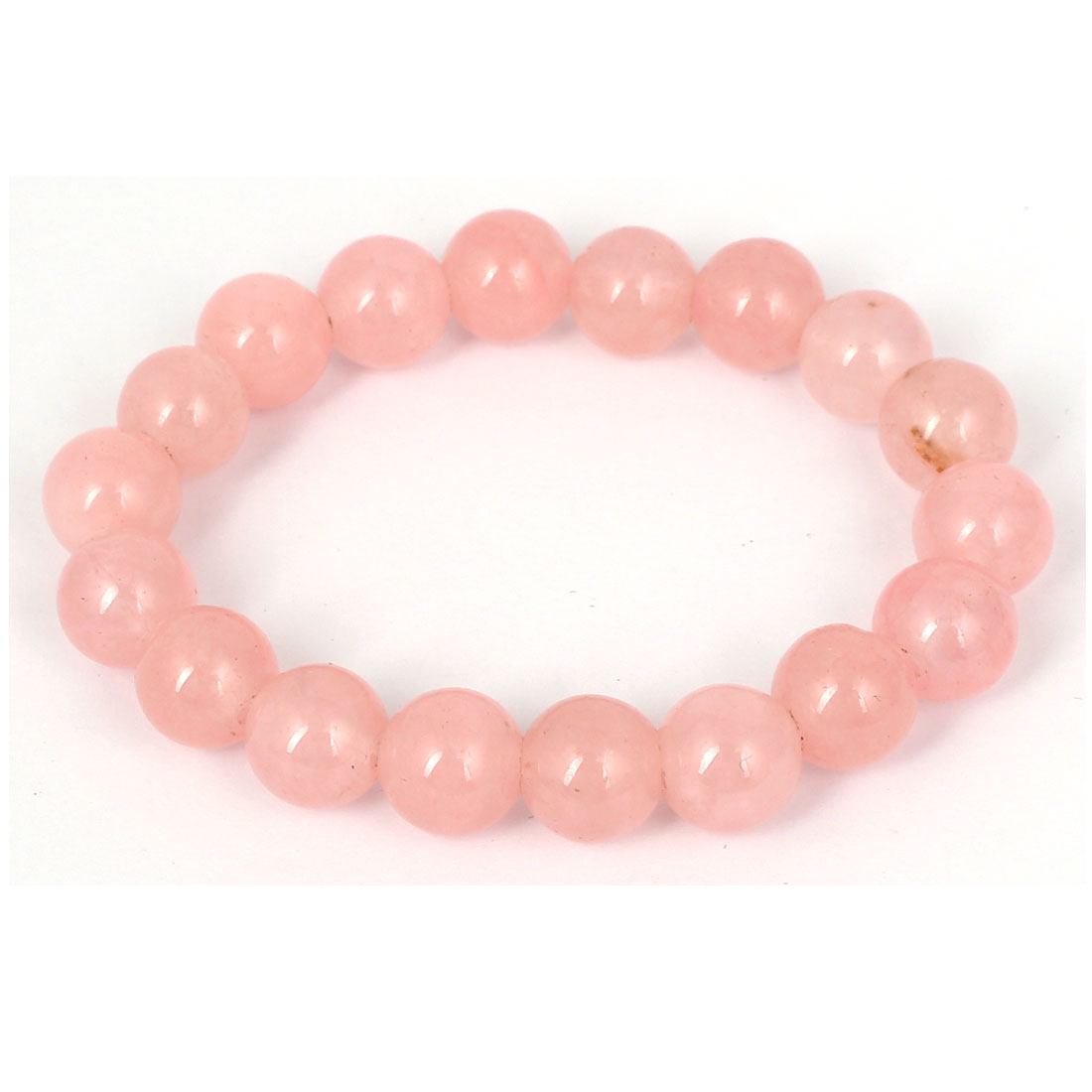 Men Women Faux Jade Elastic 10mm Round Beaded Chain Bangle Bracelet Clear Pink