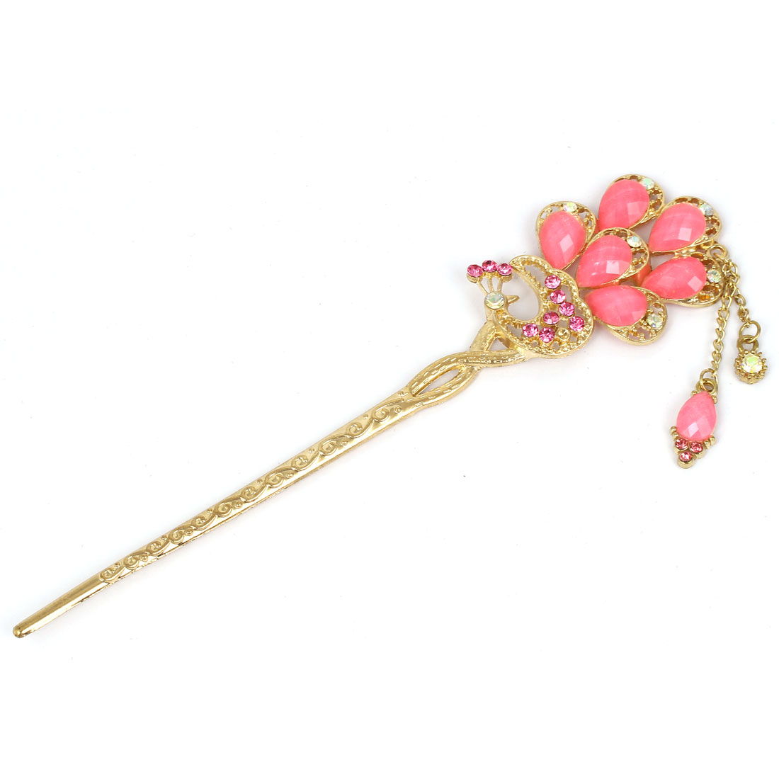 Women Faux Rhinestone Decor Peacock Shaped Hairpin Hair Clasp Stick Gold Tone Pink
