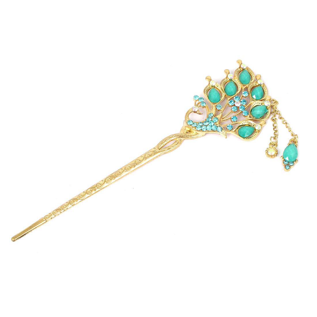 Women Faux Rhinestone Inlaid Peacock Design Hairpin Hair Clasp Stick Gold Tone Green