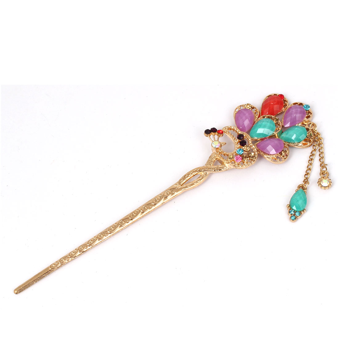 Women Faux Rhinestone Decor Peacock Shaped Hairpin Hair Clasp Stick Colorful