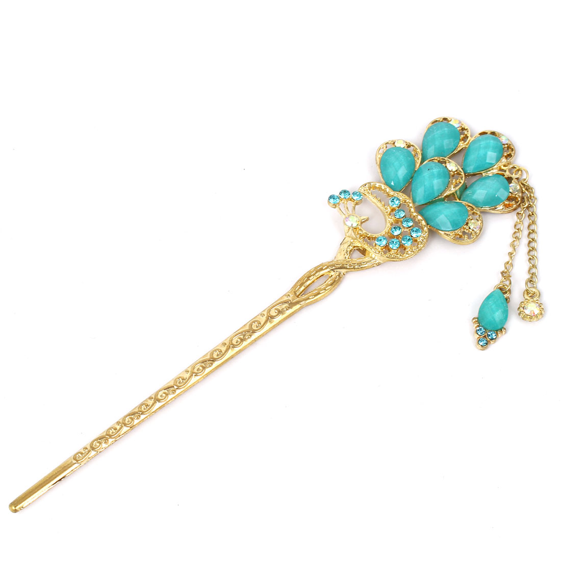 Women Faux Rhinestone Decor Peacock Shaped Hairpin Hair Clasp Stick Gold Tone Green