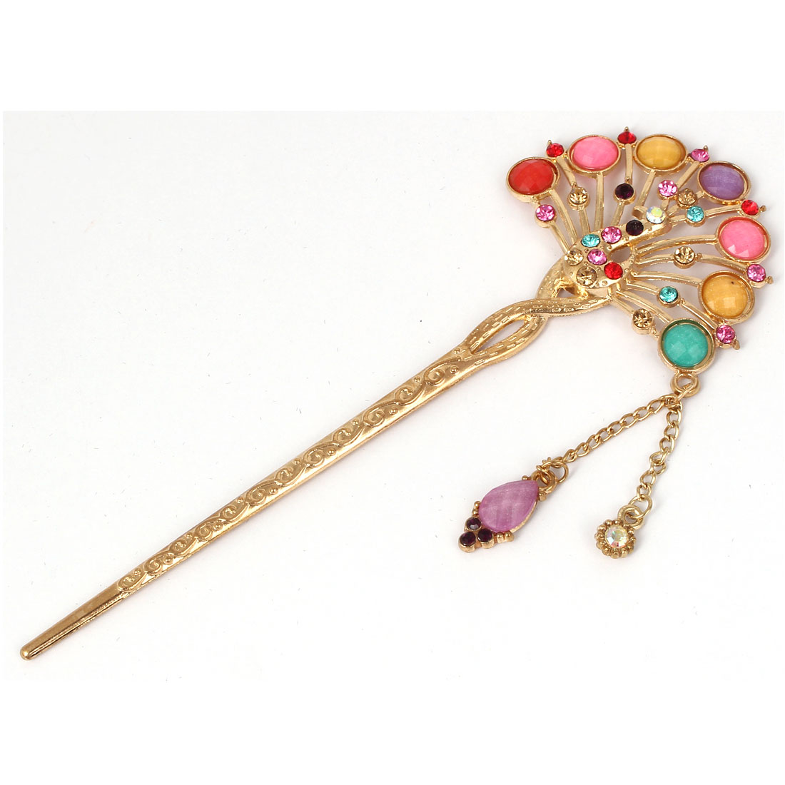 Women Faux Rhinestone Inlaid Peacock Shaped Hairpin Hair Clasp Stick Colorful