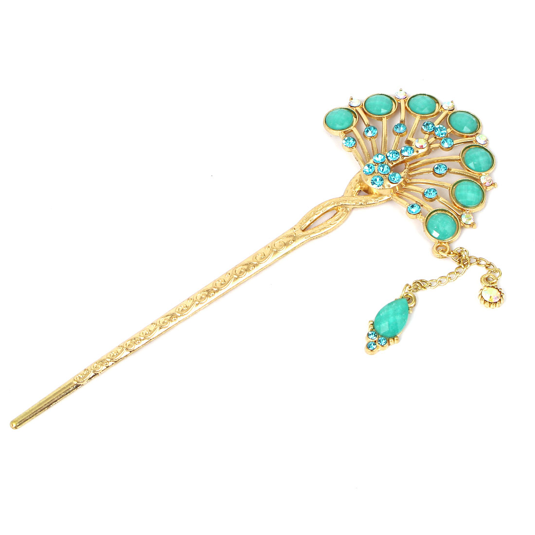 Women Faux Rhinestone Inlaid Peacock Shaped Hairpin Hair Clasp Stick Gold Tone Green