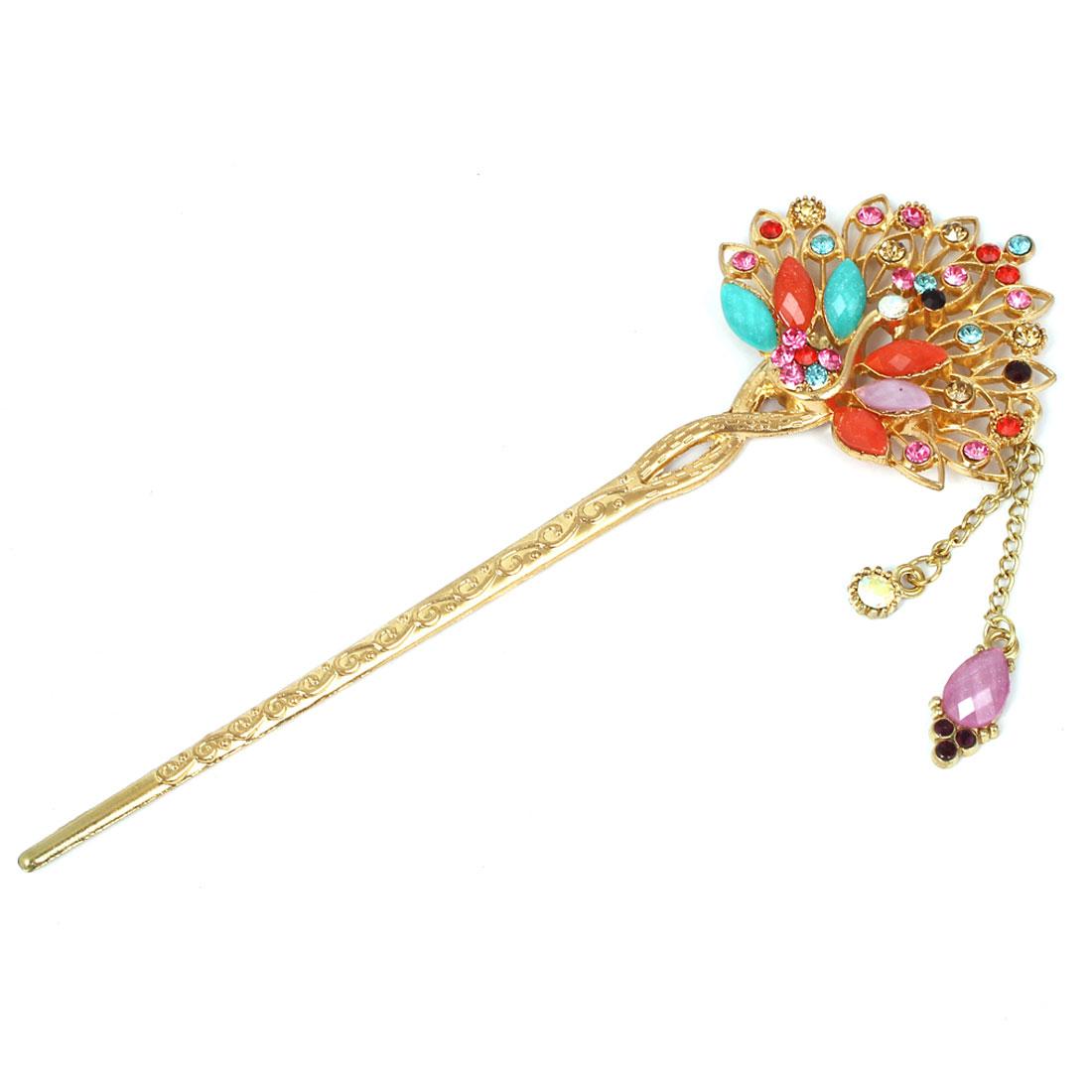 Women Faux Rhinestone Decor Peacock Shaped Dangling Hairpin Hair Stick Colorful