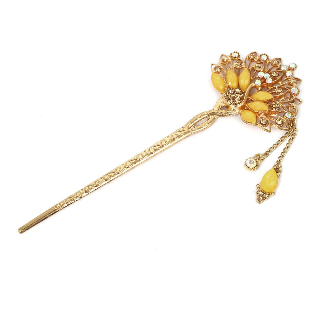 Women Faux Rhinestone Decor Peacock Shape Dangling Hairpin Hair Stick Gold Tone Yellow