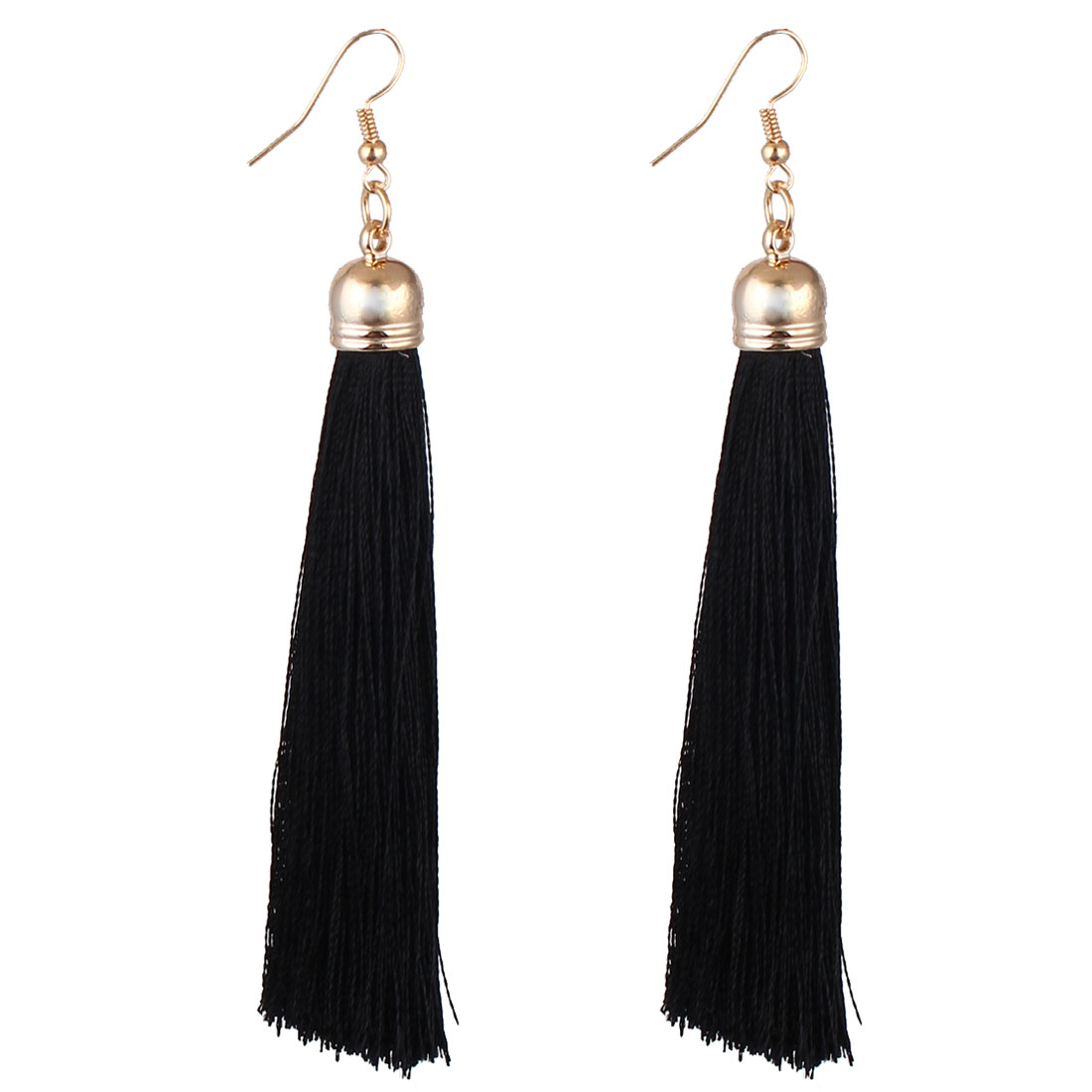 Women Lady Fish Hook Long Tassel Pendant Dangling Earrings Eardrop Black Pair