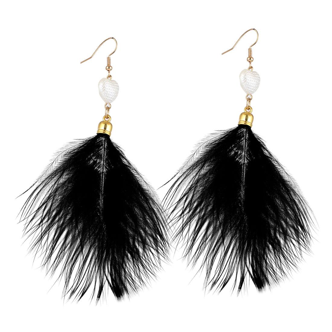 Women Faux Feather Pendant Heart Bead Decor Fish Hook Dangle Earrings Black Pair